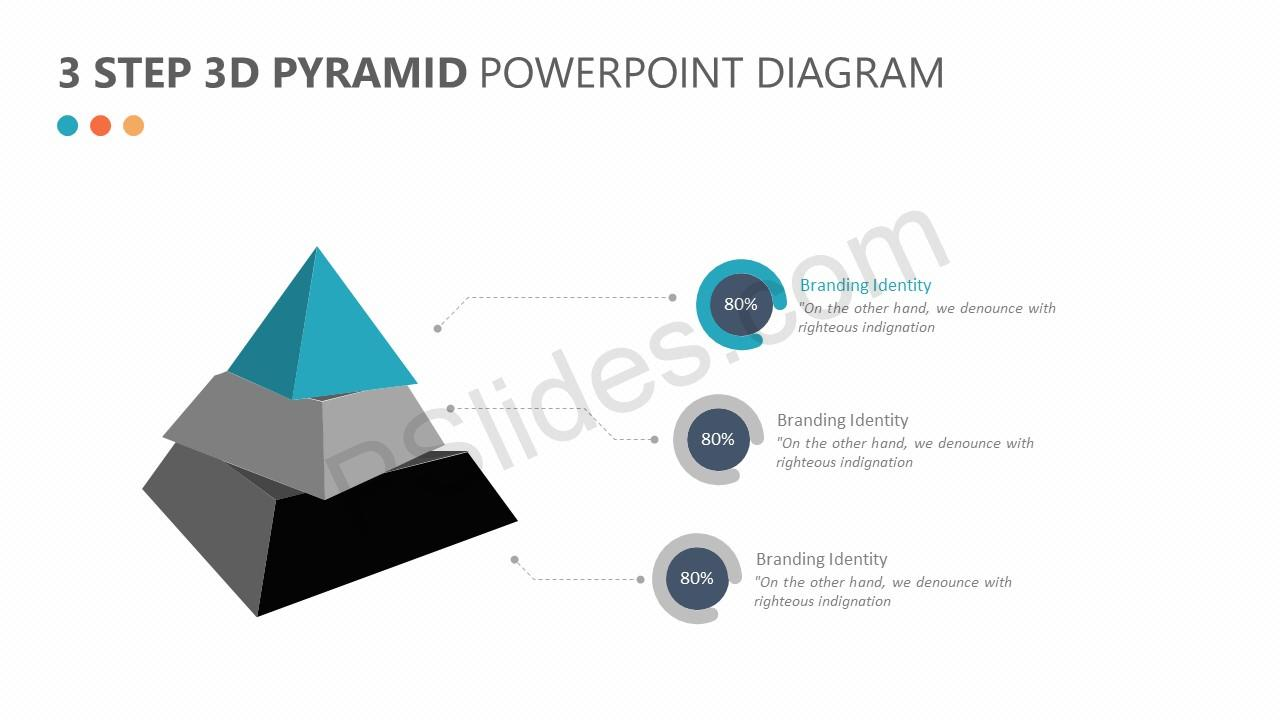 3 Step 3D Pyramid PowerPoint Diagram Slide 1