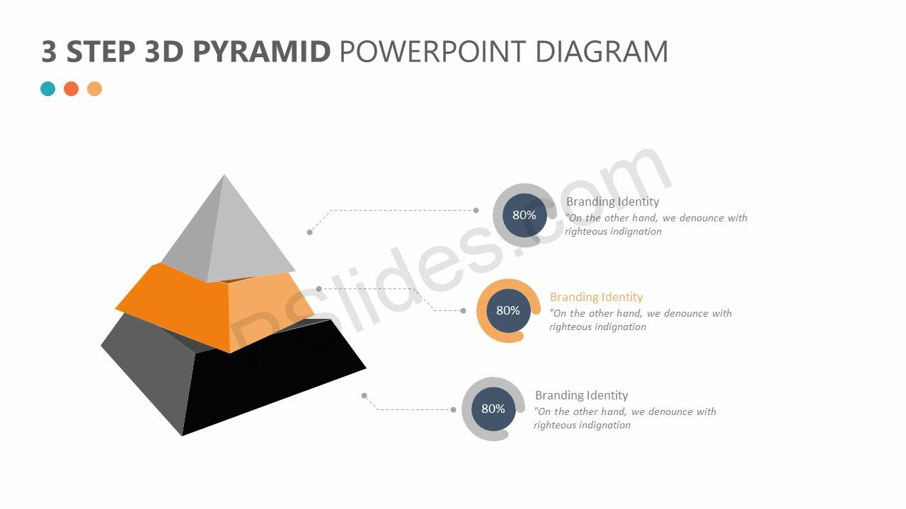 3 Step 3D Pyramid PowerPoint Diagram Slide 2