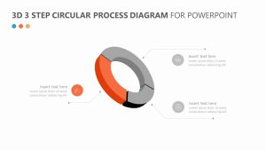 3D 3 Step Circular Process Diagram for PowerPoint Slide 2