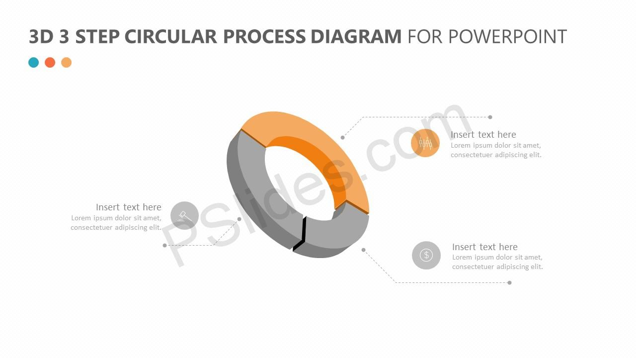 3D 3 Step Circular Process Diagram for PowerPoint Slide 3