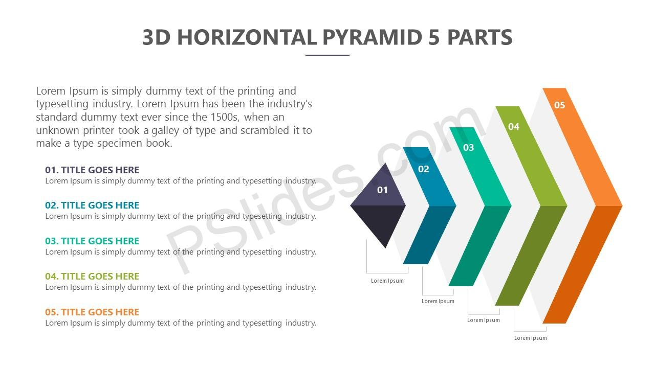 3D Horizontal Pyramid – 5 Parts Slide 1