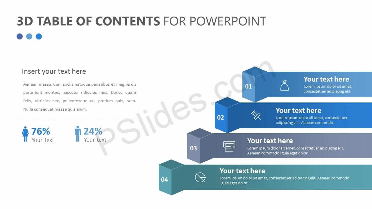 free 3d table of contents for powerpoint pslides