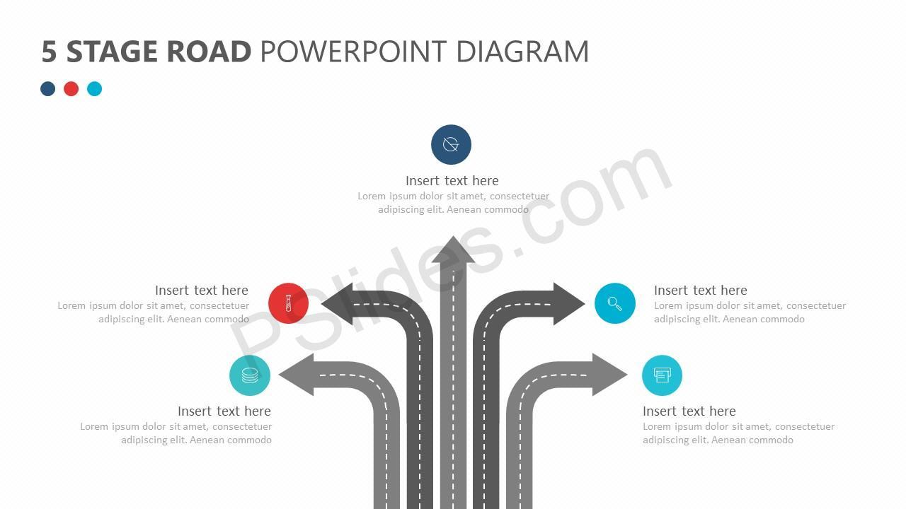 5 Stage Road PowerPoint Diagram Slide 1