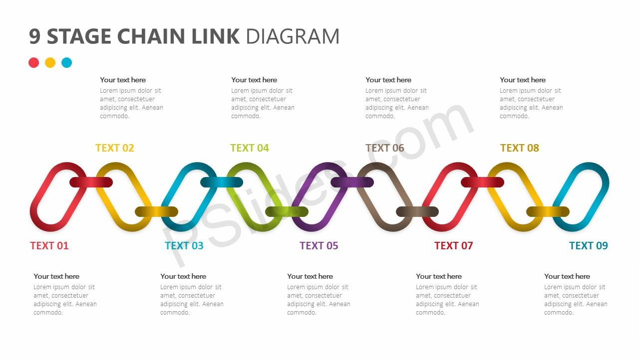 9 Stage Chain Link Diagram for PowerPoint