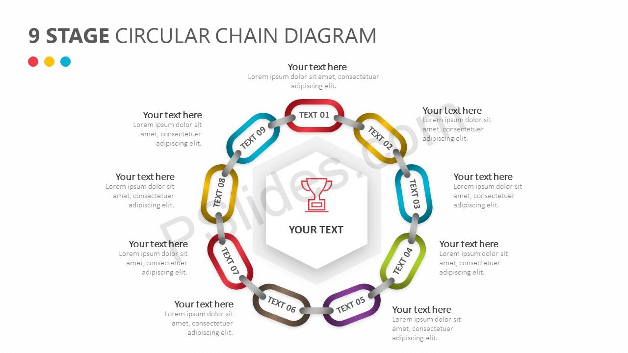 9 Stage Circular Chain Diagram for PowerPoint