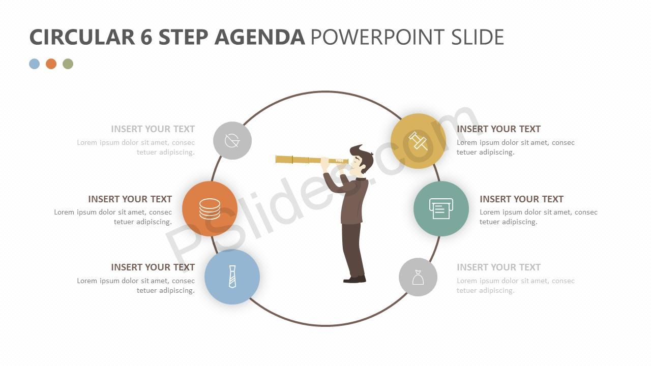 Circular 6 Step Agenda PowerPoint Slide 2