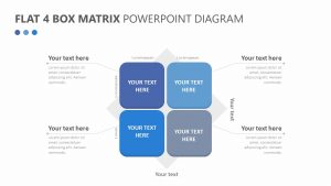Flat 4 Box Matrix PowerPoint Diagram Slide 1