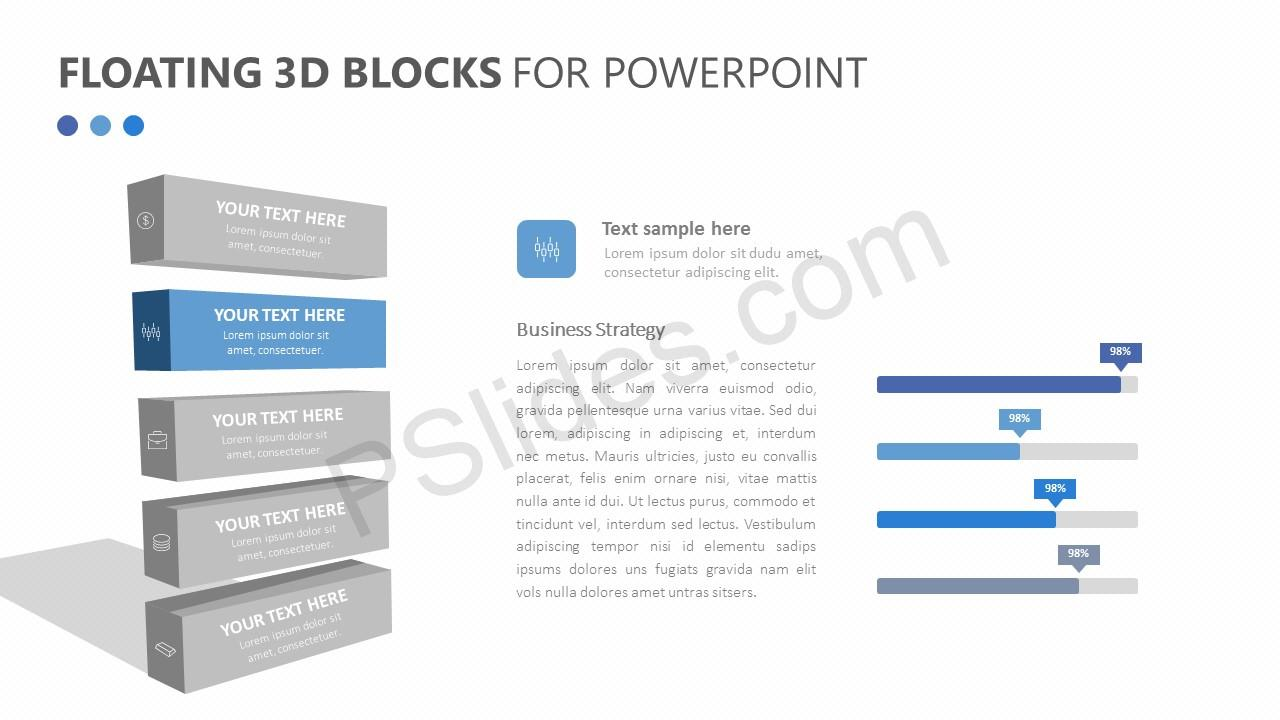 Floating 3d Blocks For Powerpoint Pslides Template Stack Process Diagram With 5 Stages Templates Slide 3