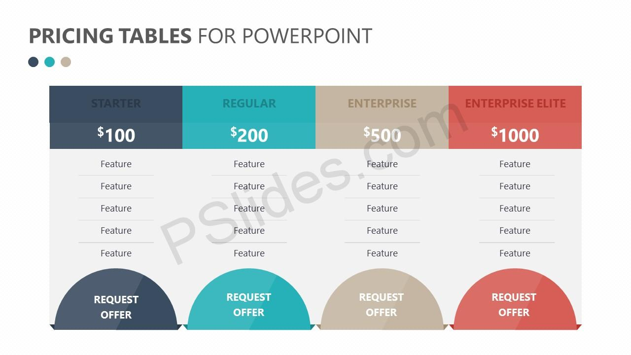 Pricing Tables for PowerPoint Slide 1
