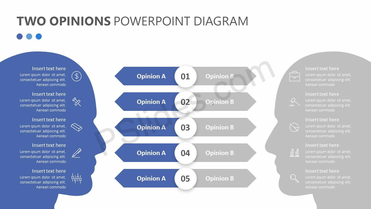 Two Opinions PowerPoint Diagram Slide 2