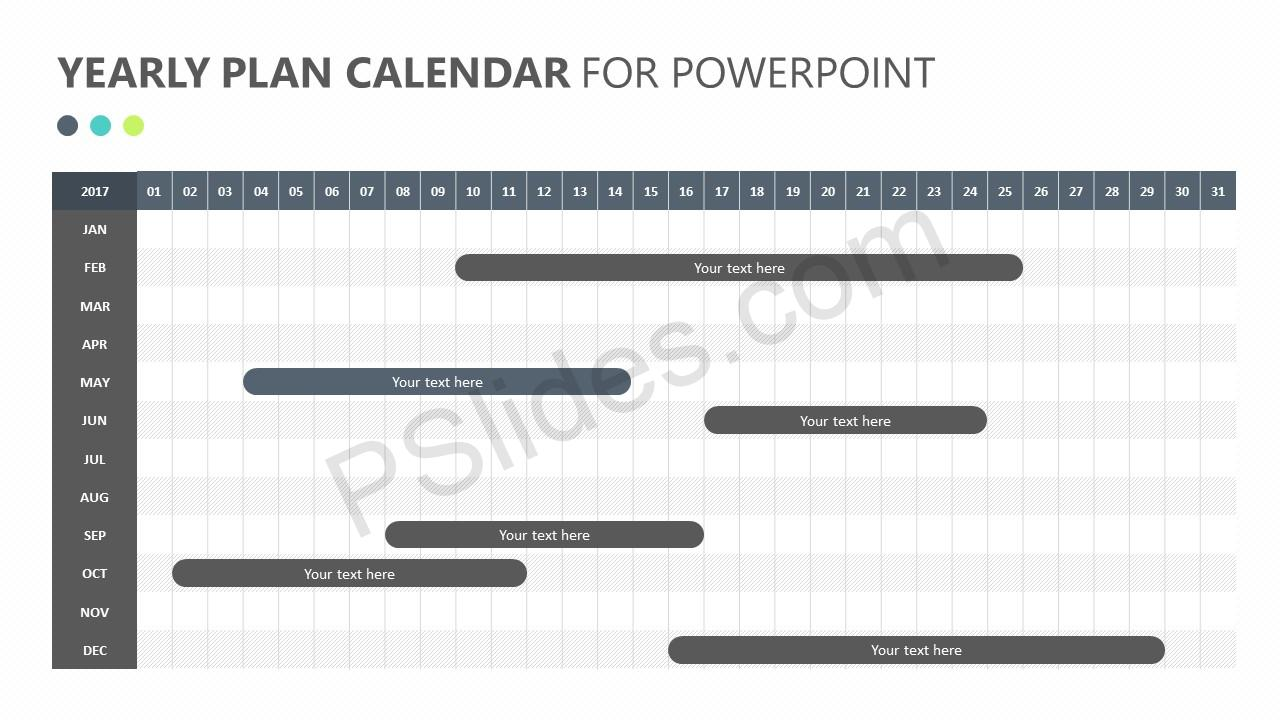 Yearly Plan Calendar for PowerPoint Slide 3