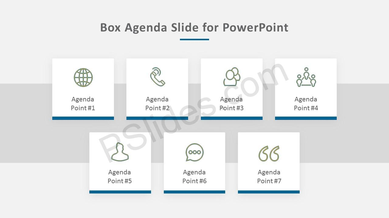 Box Agenda Slide for PowerPoint