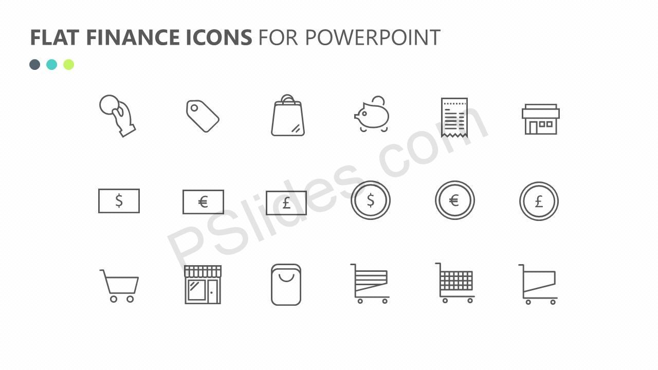 Flat Finance Icons Slide 4