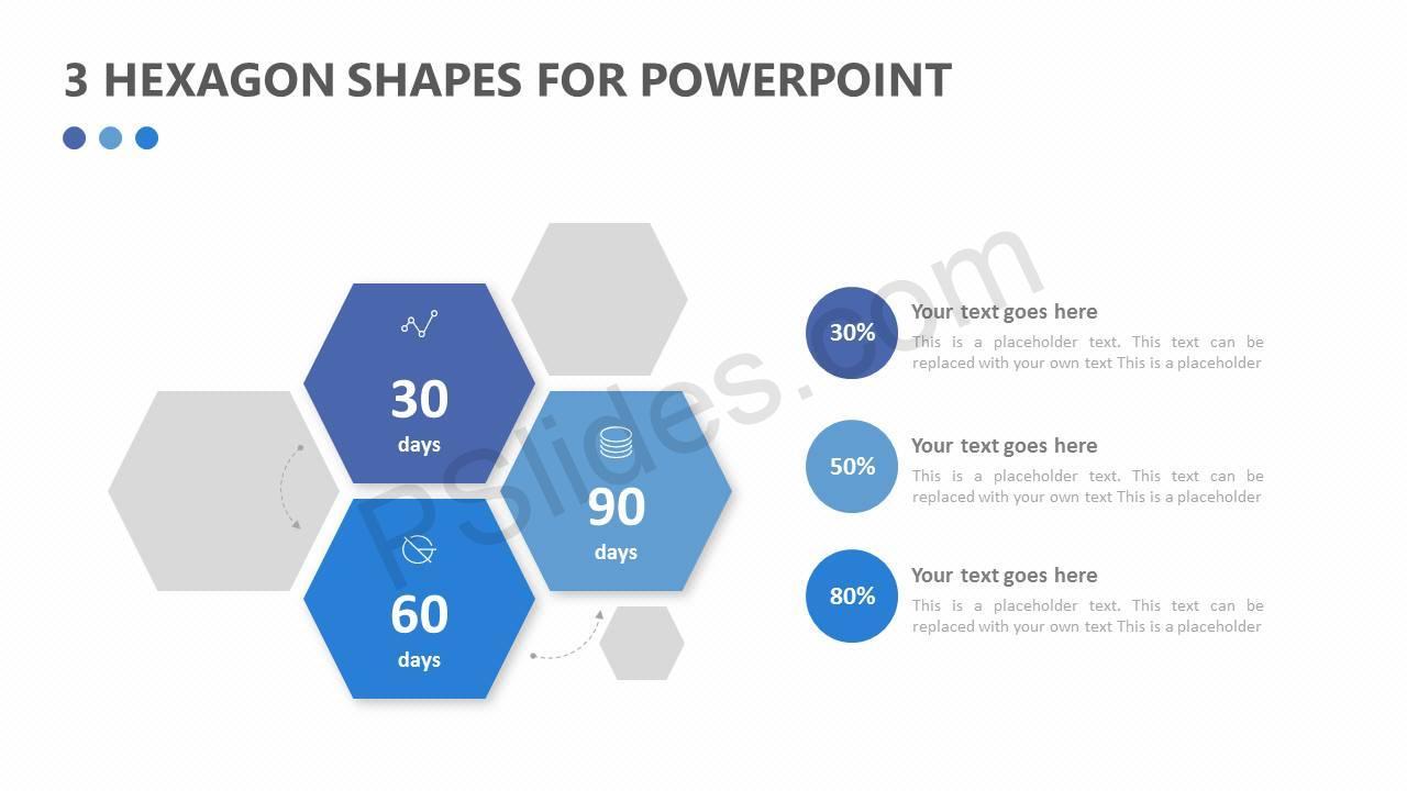 3 Hexagon Shapes for PowerPoint Slide1