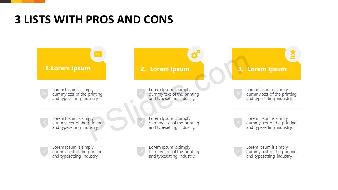 3 Lists With Pros and Cons Slide1