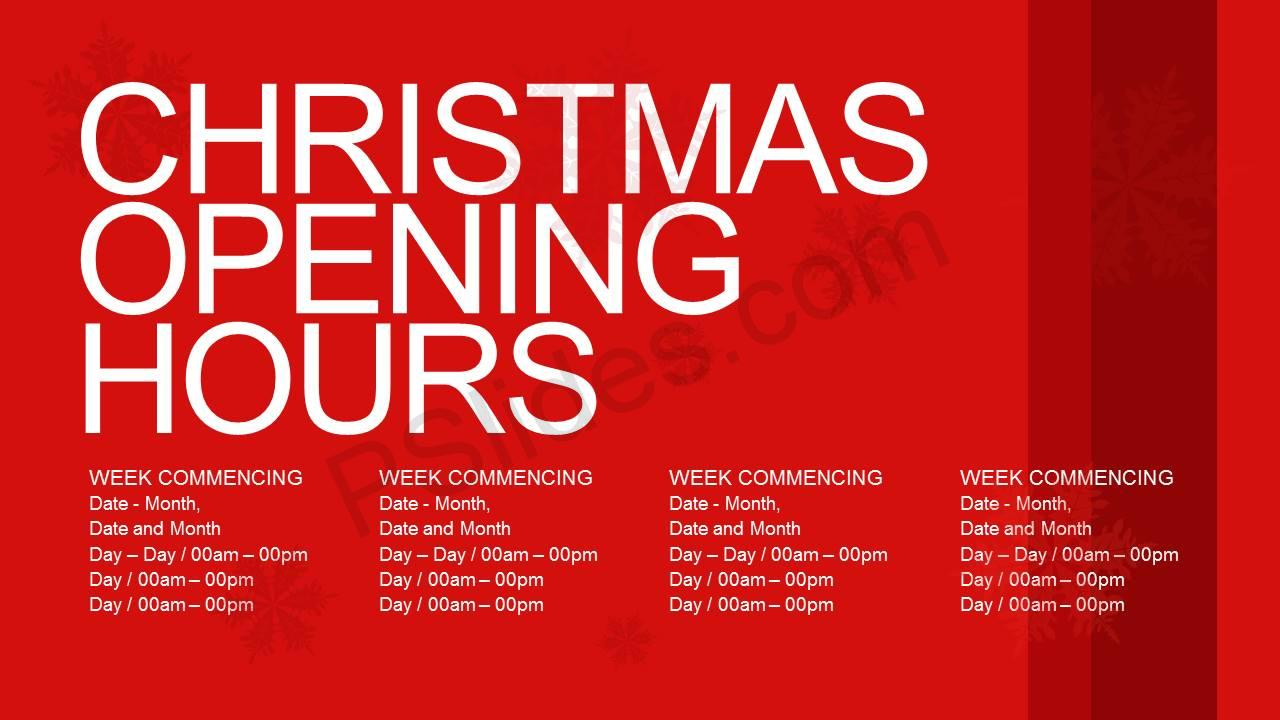 Christmas Opening Hours Slide1