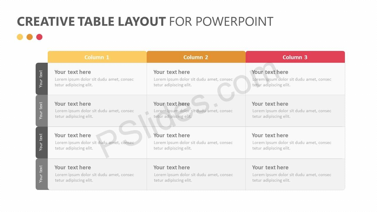Creative Table Layout for PowerPoint Slide1