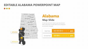 Editable Alabama PowerPoint Map