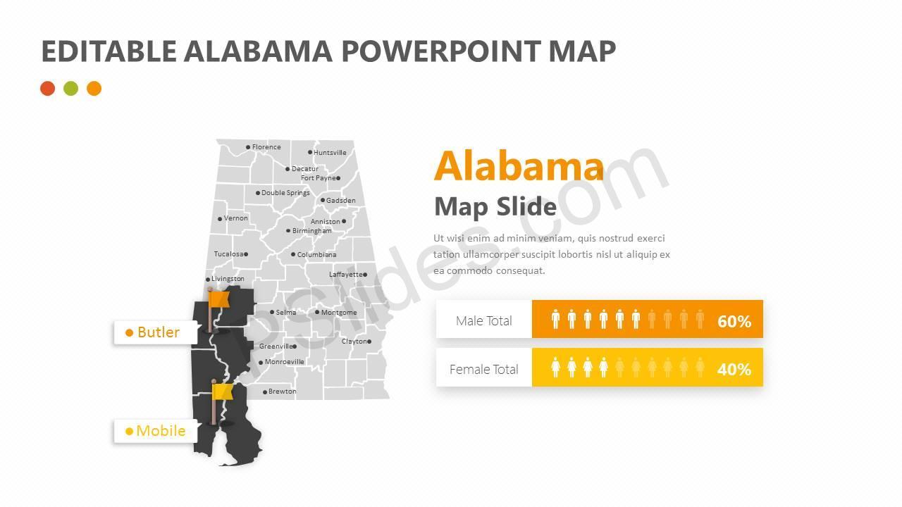 Editable Alabama PowerPoint Map Slide2
