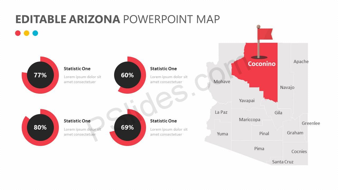 Editable Arizona PowerPoint Map Slide1