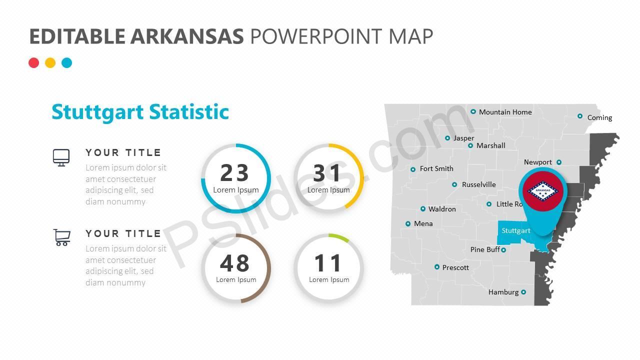 Editable Arkansas PowerPoint Map Slide1