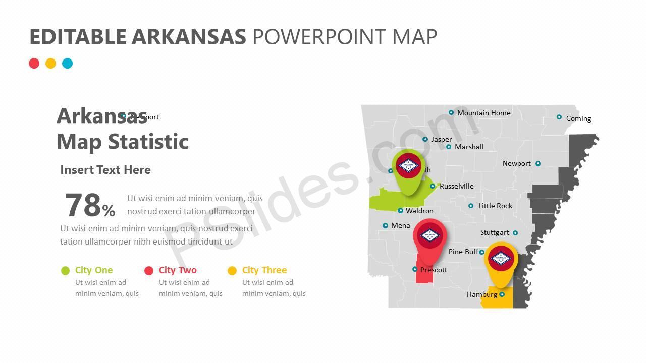 Editable Arkansas PowerPoint Map Slide2