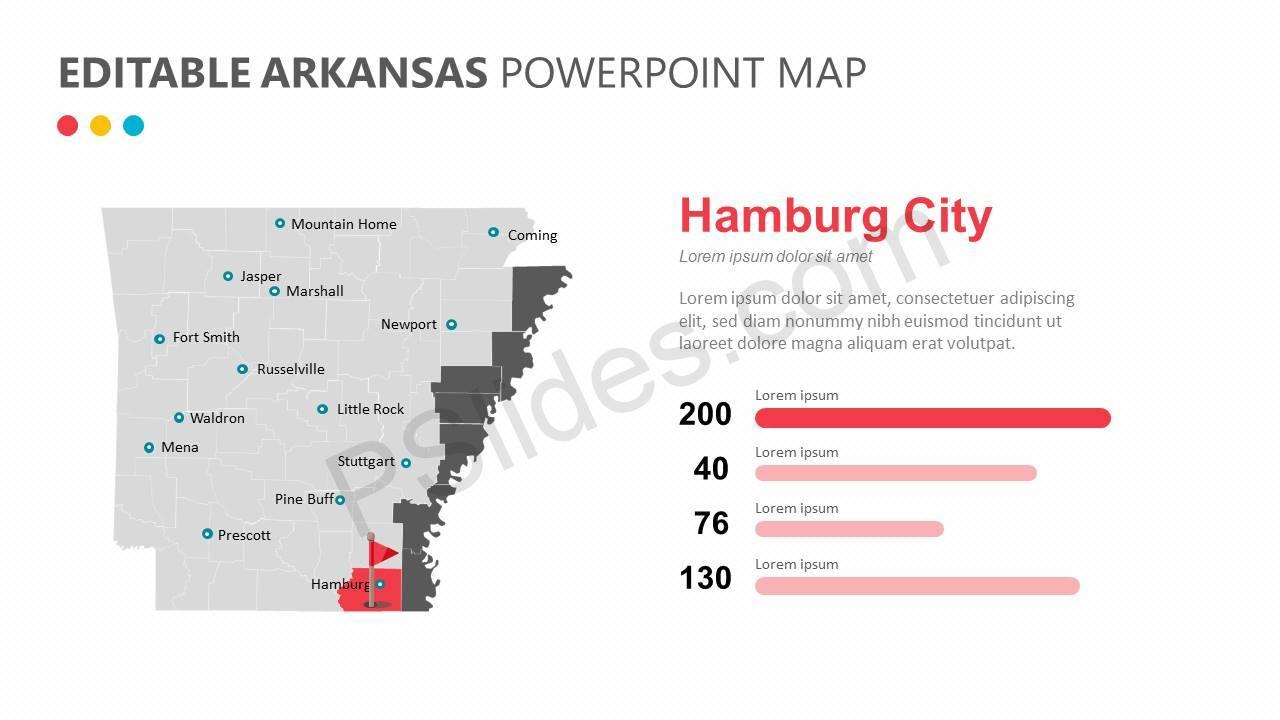 Editable Arkansas PowerPoint Map Slide3