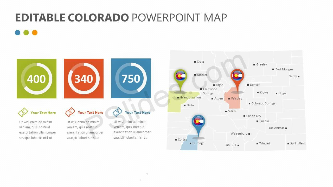 Editable Colorado PowerPoint Map Slide1