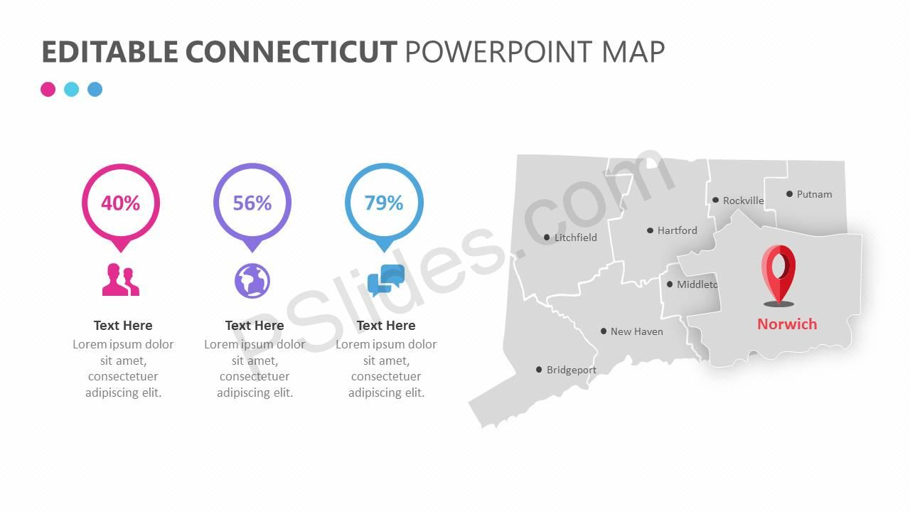 Editable Connecticut PowerPoint Map Slide2