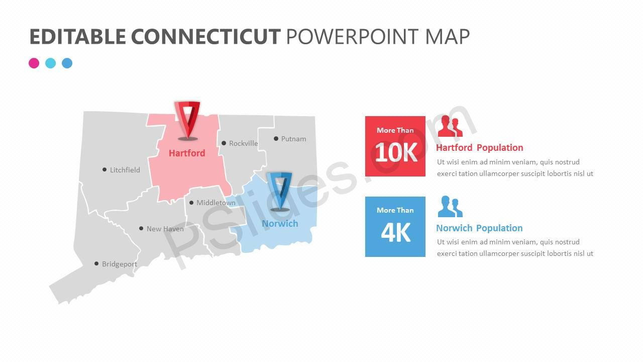 Editable Connecticut PowerPoint MapSlide1