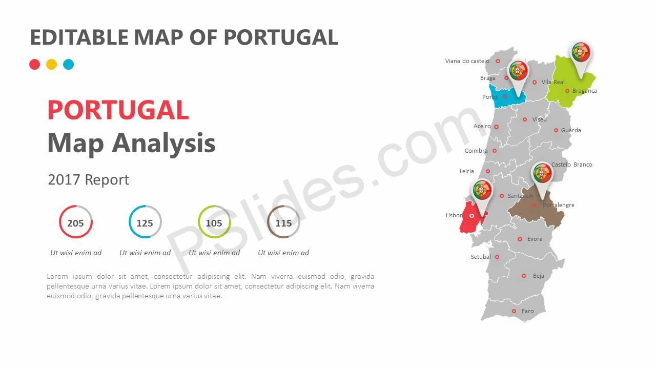 Editable Map of Portugal Slide1