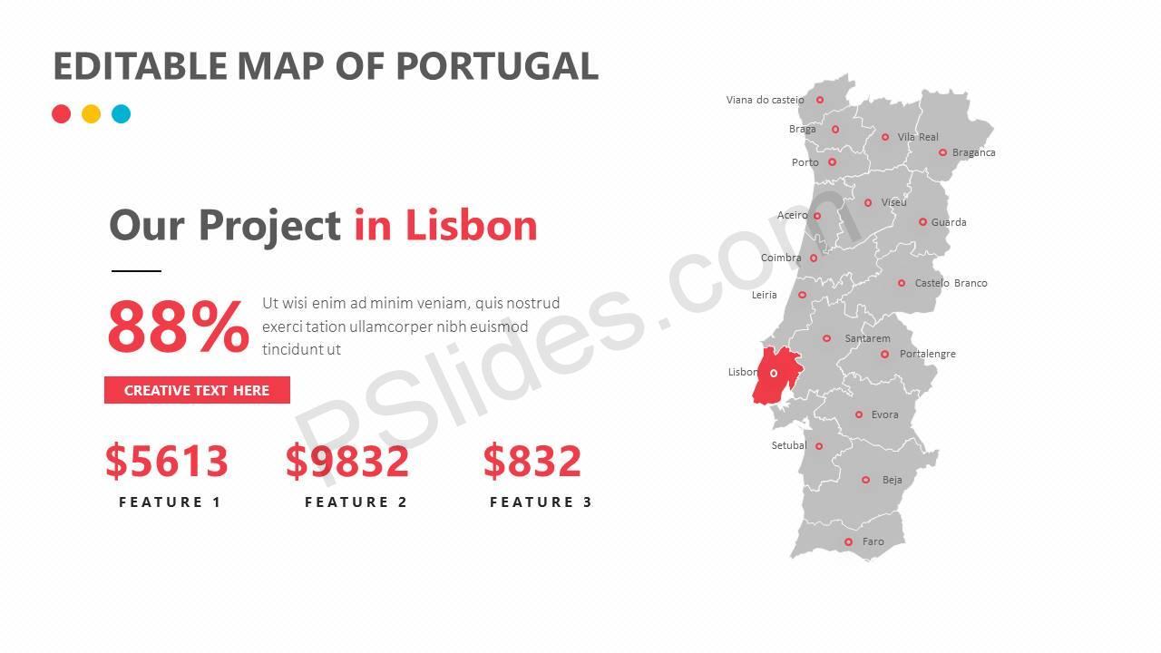 Editable Map of Portugal Slide3