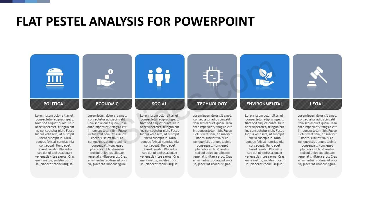 Flat PESTEL Analysis for PowerPoint Slide 1