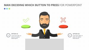Man Deciding Which Button to Press