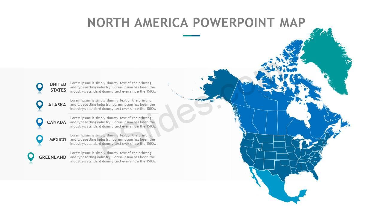 Picture of: North America Powerpoint Map Pslides