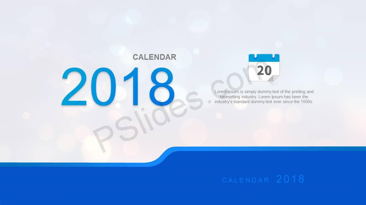 Simple 2018 Calendar for PowerPoint Slide1