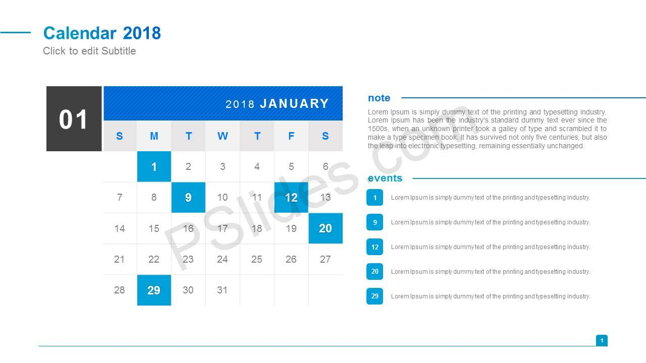 Simple 2018 Calendar for PowerPoint Slide2