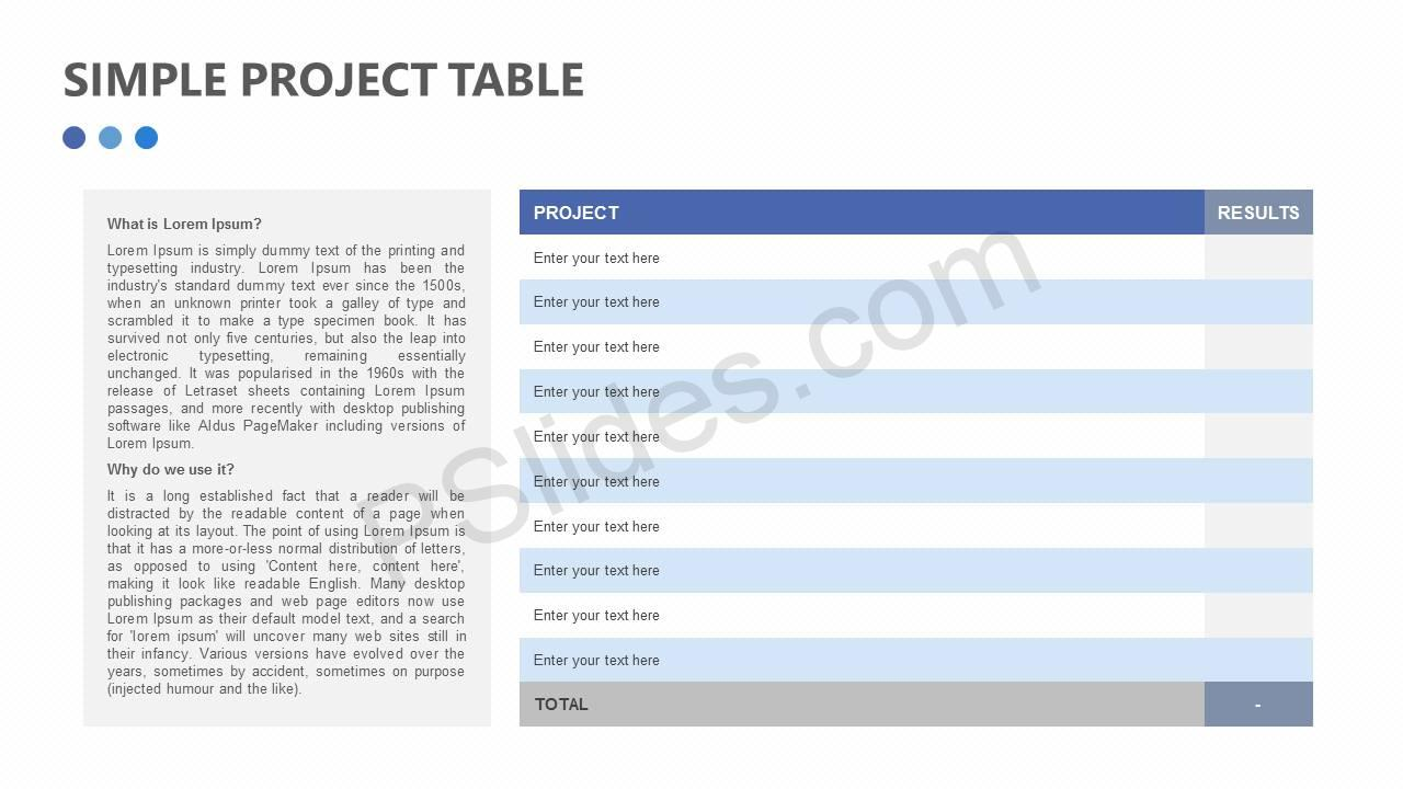 Simple Project Table for PowerPoint Slide1