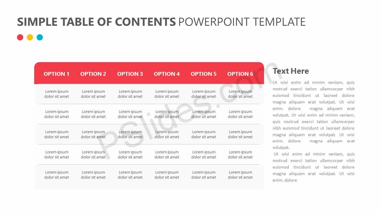 Simple Table of Contents PowerPoint Template Slide2