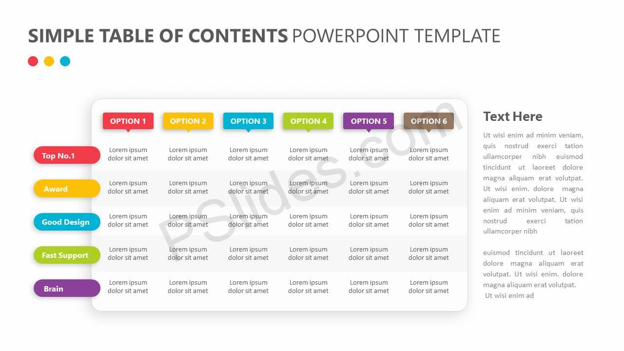 Simple Table of Contents PowerPoint Template Slide4