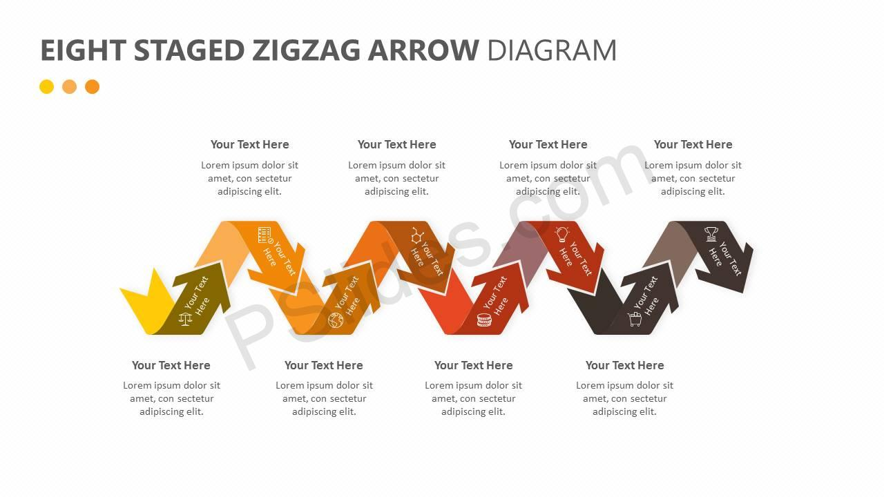 Eight Staged Zigzag Arrow Diagram Slide1