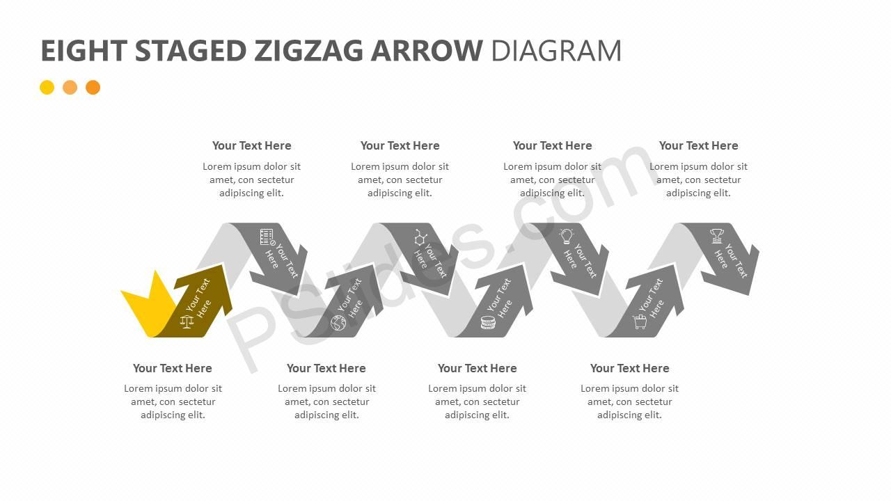 Eight Staged Zigzag Arrow Diagram Slide2