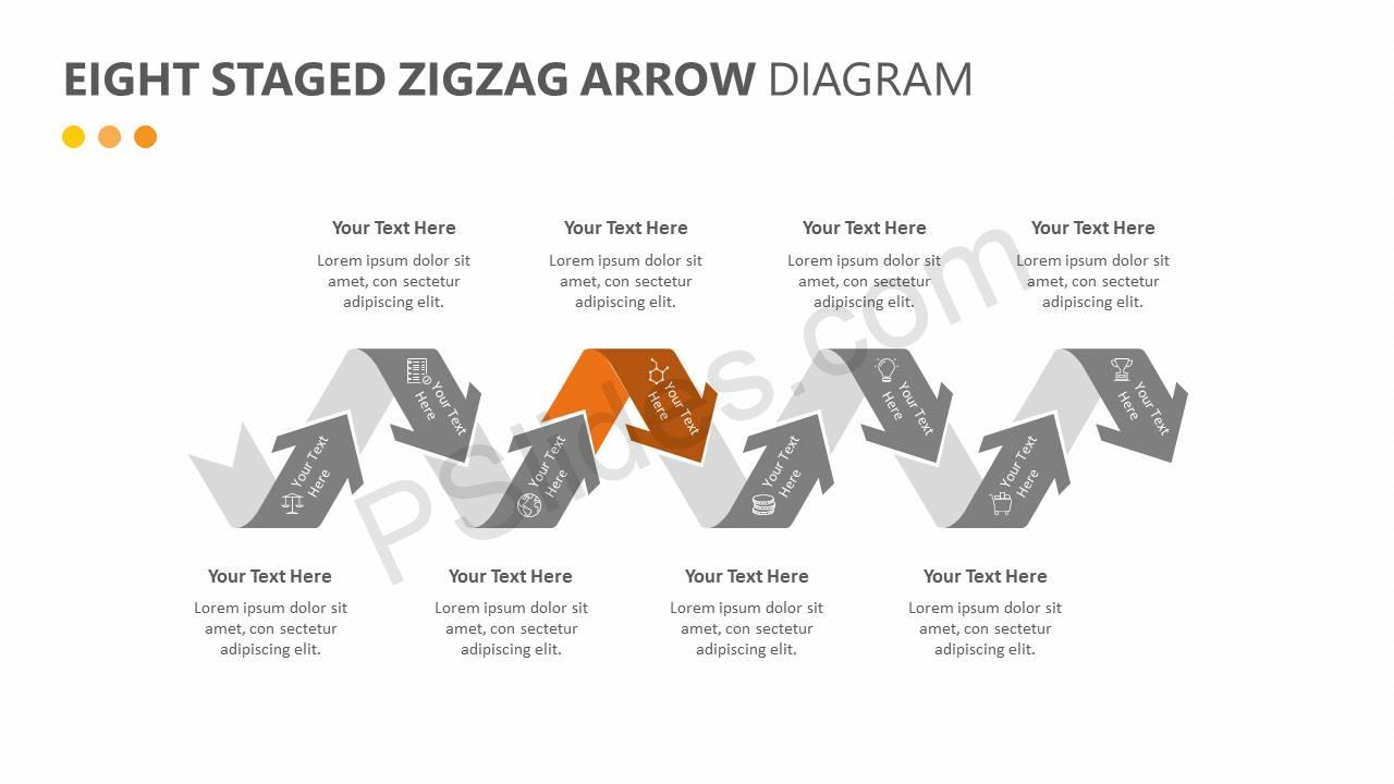 Eight Staged Zigzag Arrow Diagram Slide3