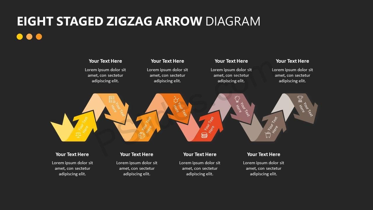 Eight Staged Zigzag Arrow Diagram Slide4