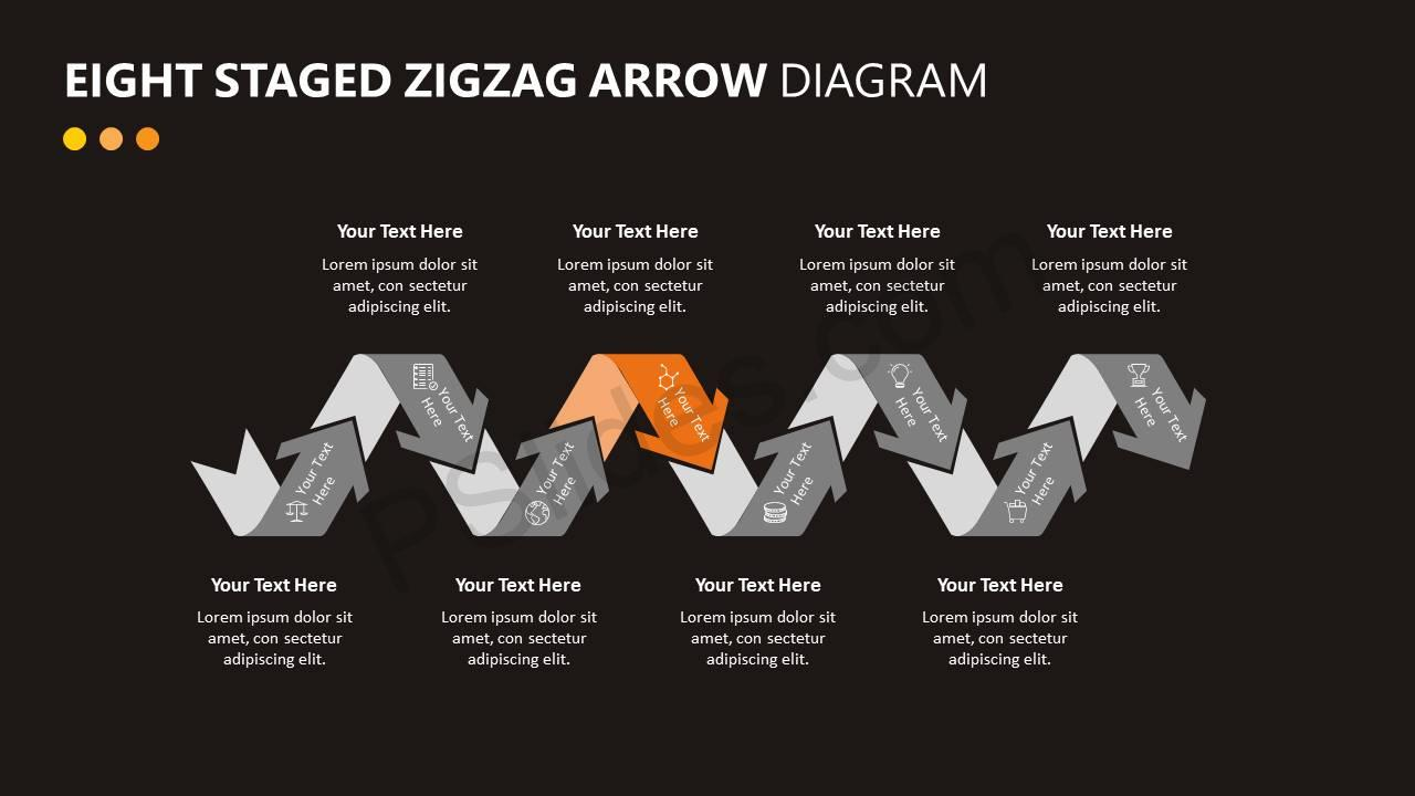 Eight Staged Zigzag Arrow Diagram Slide5