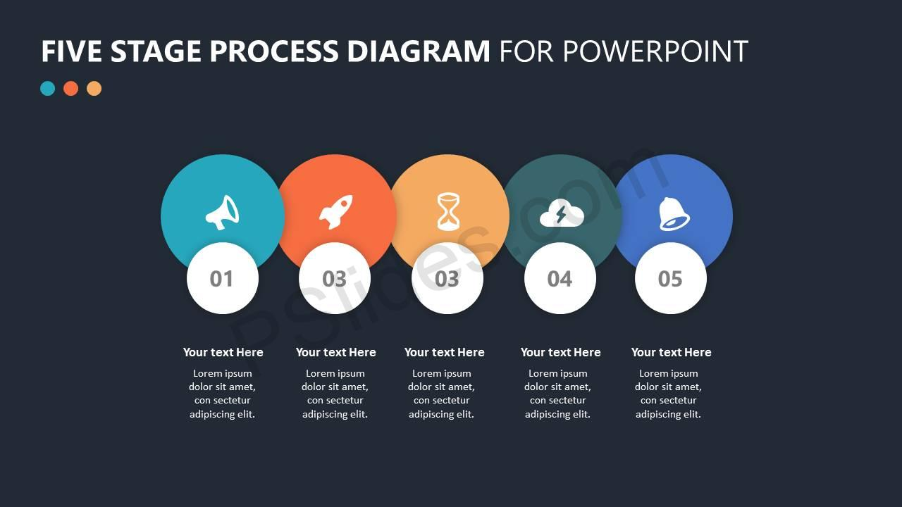 Five Stage Process Diagram for PowerPoint Slide 4 – Dark