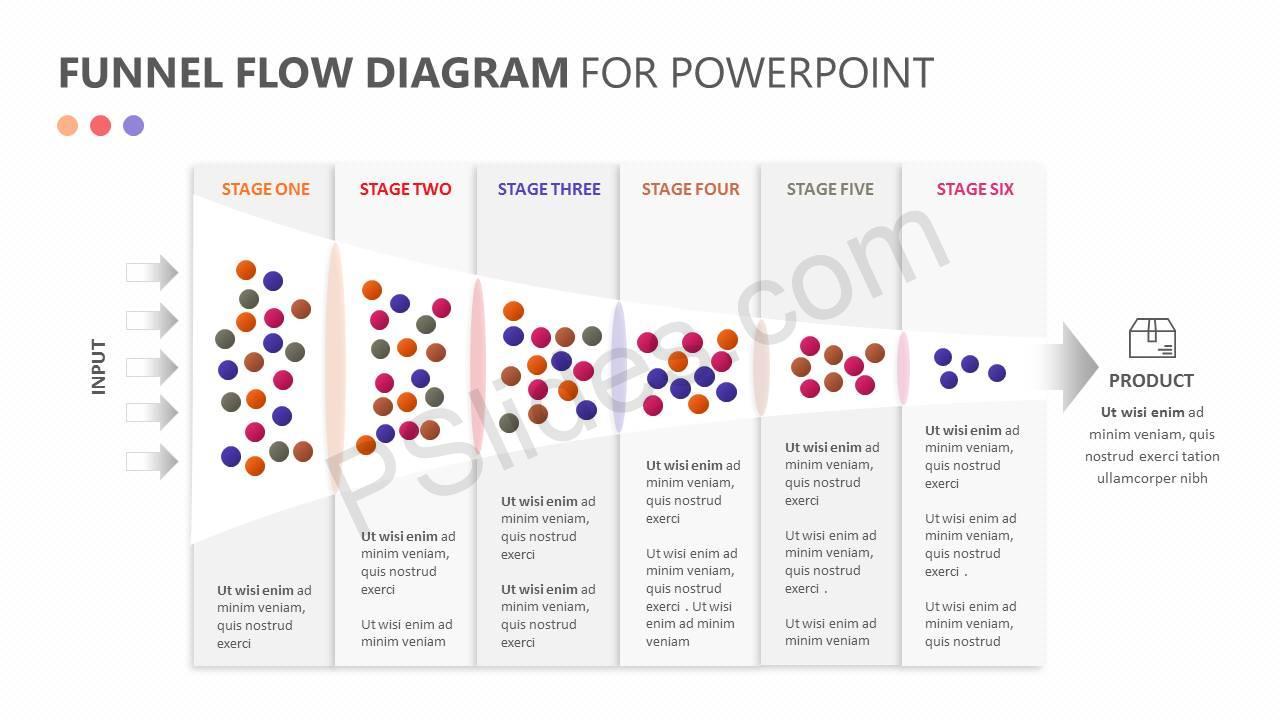 Funnel Flow Diagram for PowerPoint Slide1