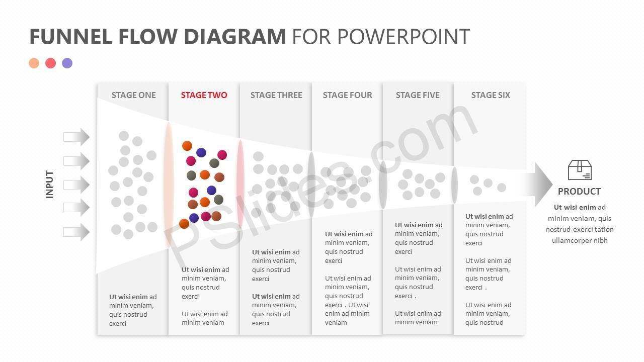 Funnel Flow Diagram for PowerPoint Slide2