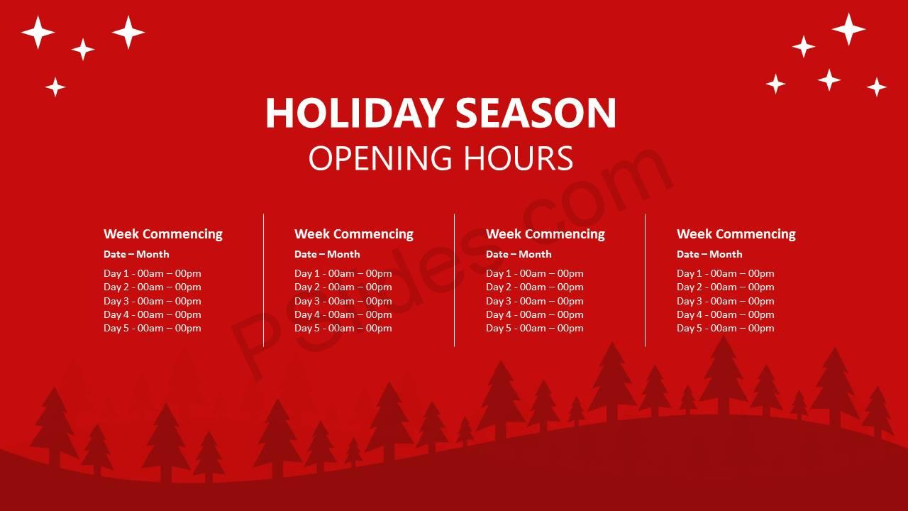Holiday Season Opening Hours PowerPoint Template