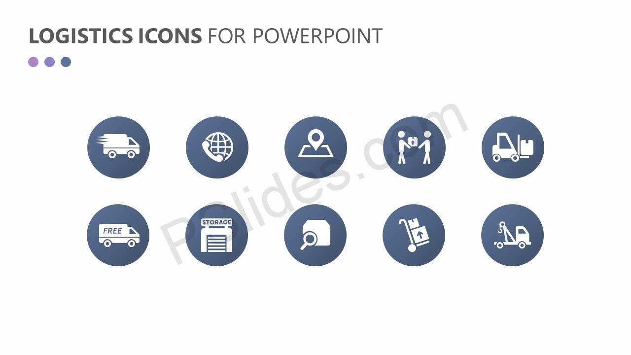 Logistics and Transportation PowerPoint Icons Slide1